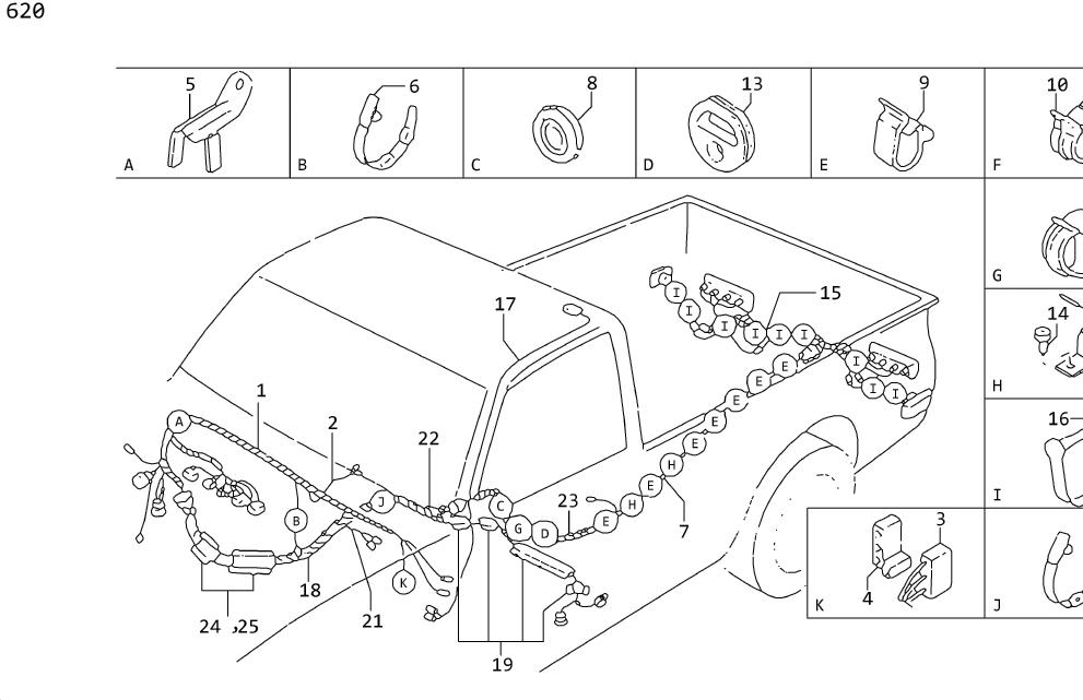 Datsun 620 Harness Engine Compartment  Manual  Fed  Wiring