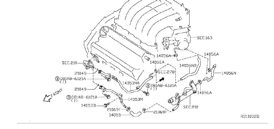 Nissan Maxima Engine Coolant Hose - 14056-8J100   BURIEN ...