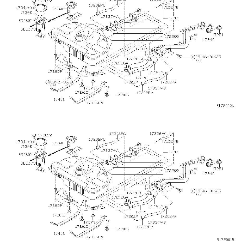 Nissan Sentra Fuel Level Sensor  Sender Unit Fuel Gauge  Tank  Compl