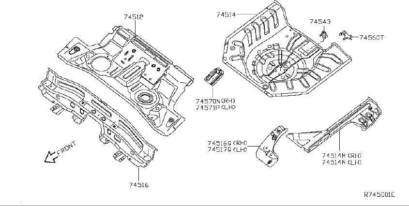 Nissan Sentra Floor Pan Reinforcement  Rear   Panel