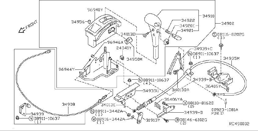 Nissan Frontier Knob Release Lever  Transmission