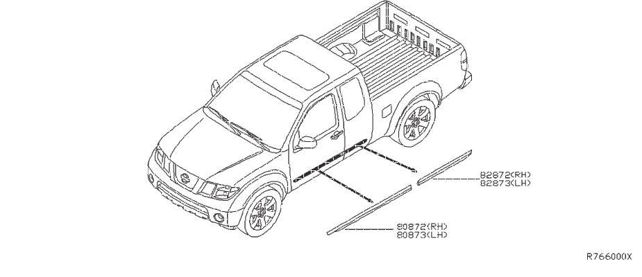 Nissan Frontier Door Molding  Left  Front   Body