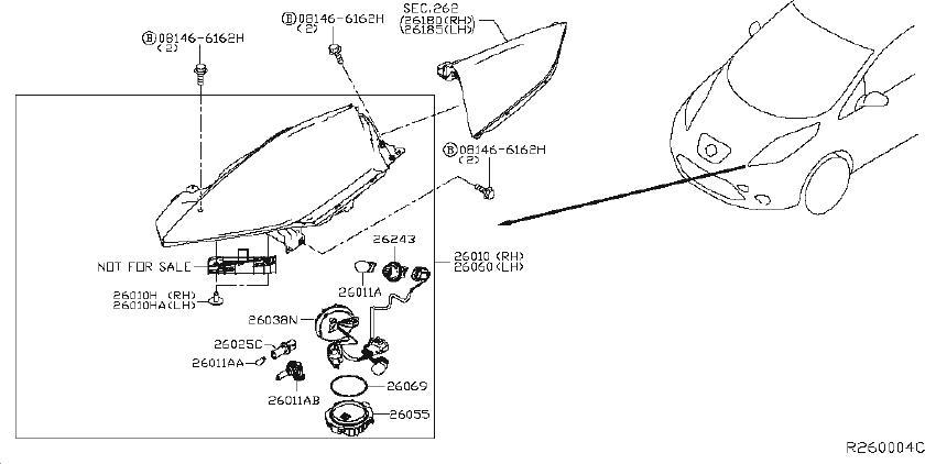 Nissan Leaf Headlight Wiring Harness  Headlamp  Fog  Led